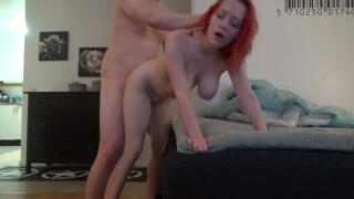 Fucked hard tits creampied with bf by and redhead gets big dick full