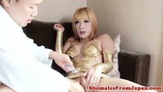 Newhalf in japanese lingerie ladyboy fucking lady new