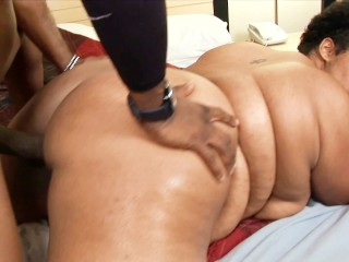 Chubby ebony with thick thighs drilled by big black dick