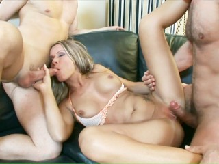 Cock hungry blonde MILF gets double penetrated