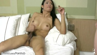 Asian TS enjoys mouth fucking and huge cum load on her boobs Latina toys