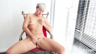 Blonde Steel Masturbating At The Window
