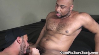 DILF bear pounded by unsaddled BBC after bj Double hardcore