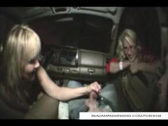 Tag Team Cock Handjob In The Car
