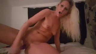 Hot blonde cumming twice with dildo