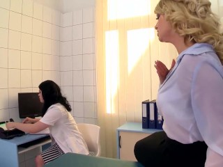 Preview 2 of Busty Blonde slut gets fisted hard in the doctors Office