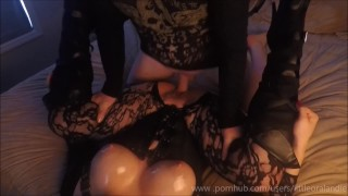 Oily Sticky Sexy - Tight Pussy Grips & Oiled Up Tits Black Boots & Fishnets Licking wife