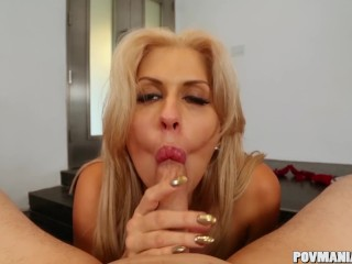 Busty Savana Styles gives head POV and strokes a cock off
