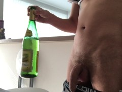 pissing in a bottle and drinking it all like a brave young boy