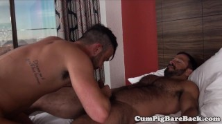 Bareback with guys anal trio butt pounding ebony unsaddled