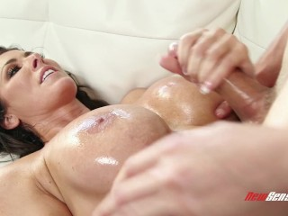 Reagan Foxxx Gives Her Big Tits To Some Helping Hands