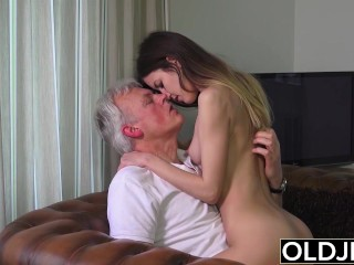 Old and Young Porn – Babysitter pussy fucked by old man and swallows cum