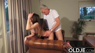 Old and Young Porn - Babysitter pussy fucked by old man and swallows cum Old fucking