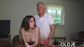 Old and Young Porn - Babysitter pussy fucked by old man and swallows cum Cums cumming