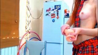 Preview 6 of Sexy redhead teen in school uniform pleasuring her twat on webcam