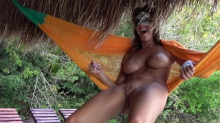 HOT AMATEUR WIFE HAS MASSIVE SQUIRTING ORGASM ON HAMMOCK