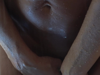 HOT WIFE ORGASMS IN JUNGLE SHOWER WITH BIG SUCTION CUP DILDO