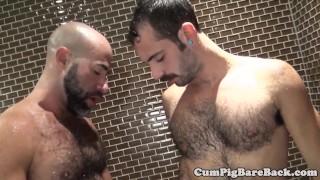 Mature bear barebacks cub in shower Dildo long