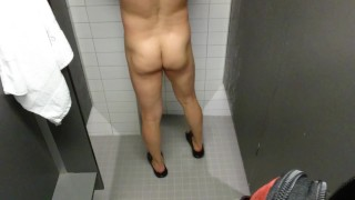 Married Asian jerk-off at a gym shower