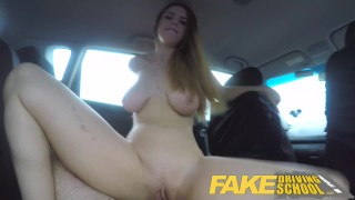 Fake Driving School full scene - Hot Italian learner with big natural tits Public femalefaketaxi