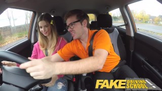 Fake Driving School full scene - Hot Italian learner with big natural tits Pov big