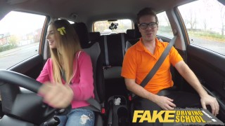 Fake Driving School full scene - Hot Italian learner with big natural tits Pawg hottie