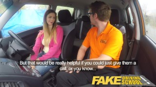Fake Driving School full scene - Hot Italian learner with big natural tits Point cei