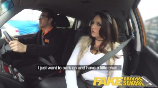 Fake Driving School busty jailbird takes instructor on a wild ride! Hostess bus