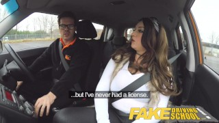 Fake Driving School busty jailbird takes instructor on a wild ride! Petite frame