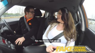Fake Driving School busty jailbird takes instructor on a wild ride! Skinny cumshot