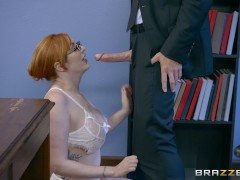 Naughty ginger bimbo gets pounded at work - Brazzers