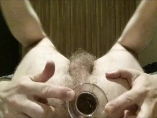 Anal gaping straight and balls after large glass...