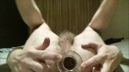 Anal gaping straight hairy ass and balls after large glass dildo ass fuck