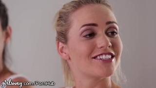 Girlsway Mia Malkova and Angela White help Lesbian Cum 3some driving
