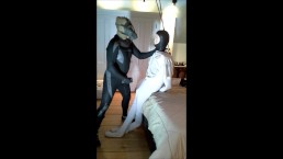 pantyhosed masked frogman humps and cums on football dummy