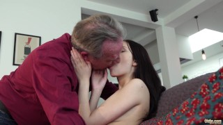 Old and Young Porn - Sweet innocent girlfriend gets fucked by grandpa Riding mom