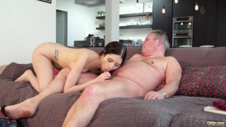 Old and Young Porn - Sweet innocent girlfriend gets fucked by grandpa porno