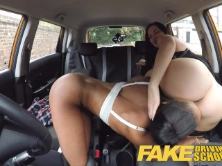 Fake Driving School busty black learner fails test with lesbian examiner