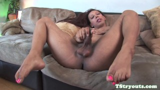 Smalltitted trans jerking her cock at casting