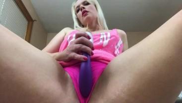 Hot Blonde Vibrates Pink Pussy Through Panties