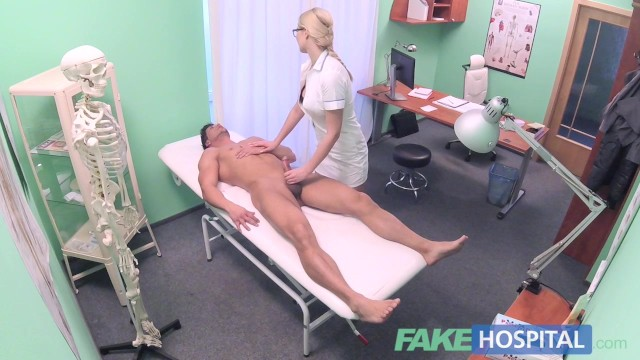 Fucking guy sexy - Fake hospital fit guy cums over hot blonde nurses tits after fucking her