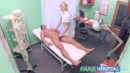 Fake Hospital Fit guy cums over hot blonde nurses tits after fucking her