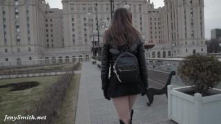 Preview 4 of Jeny Smith seamless pantyhose public upskirt