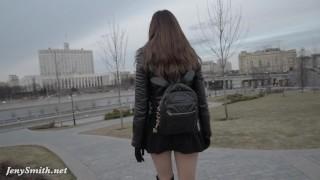 Preview 5 of Jeny Smith seamless pantyhose public upskirt