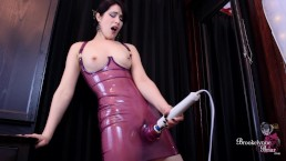 Sexy Girl In Latex Dress Pleasures Her Pussy While Wearing An Anal Plug