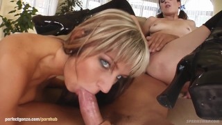 Sara & Petra swapping sperm after hardcore gonzo fuck at Sperm Swap