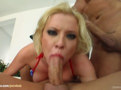 Nora in group bukkake blowbang action from Cum For Cover