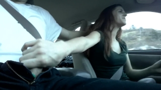 And risky in public car cum handjob in mouth redhead's exhibition swallow