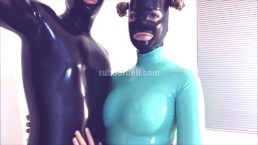 Just for fun - totally enclosed in jade and black latex catsuits