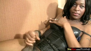 Cocoa skinned t-girl blowjobs white cock in POV and cumshots Big sclip